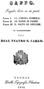 Giovanni Pacini - Saffo - title page of the libretto - Naples 1840.png