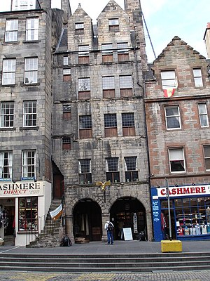 Architecture in early modern Scotland - The six-storey Gladstone's Land, Edinburgh, demonstrating the tendency to build up in the growing burghs