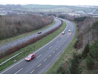 High-quality dual carriageway - This section of the N8 5 km north of Cork was redesignated as motorway.