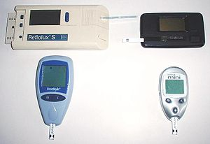 Glucose meter - Four generations of blood glucose meter, c. 1993–2005. Sample sizes vary from 30 to 0.3 μl. Test times vary from 5 seconds to 2 minutes (modern meters typically provide results in 5 seconds).