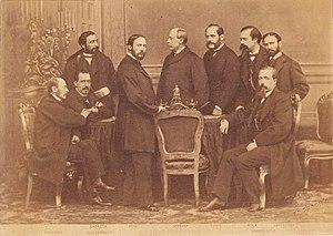 Gobierno Provisional, 1869. Figuerola, Sagasta, Ruiz Zorrilla, Prim, Serrano, Topete, López Ayala, Romero Ortiz y Lorenzana (foto de J. Laurent).