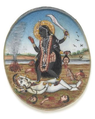 Kali - Dakshina Kali, with Siva devotedly at her feet.