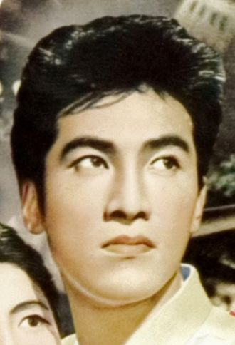 Akira Takarada - Akira Takarada (age 20) in detail from movie poster of Japanese movie Godzilla (1954)