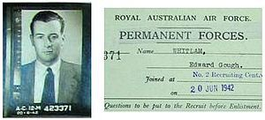 Gough Whitlam - Photograph of Whitlam and attestation paper from his RAAF officer personnel file dated 1942