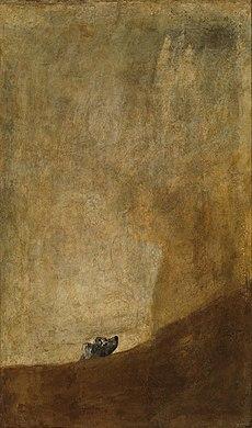 Perro semihundido, Goya