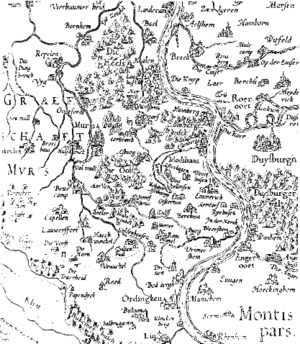 County of Moers - Map of the County of Moers