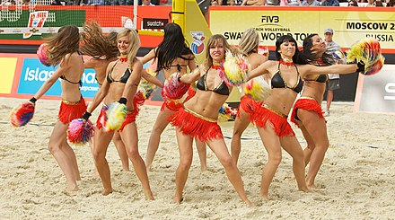 Dancers during a match at the 2012 FIVB Moscow Grand Slam Grand Slam Moscow 2012, Set 4 - 047.jpg