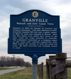 The historical marker near Granville.