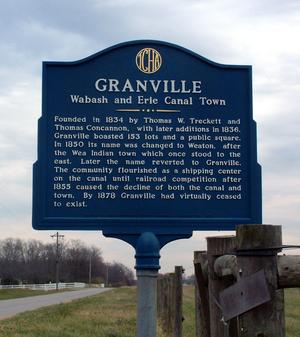 Granville, Indiana - The historical marker near Granville.