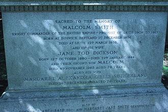Malcolm Smith (Scottish politician) - grave of Malcolm Smith MP, Warriston Cemetery