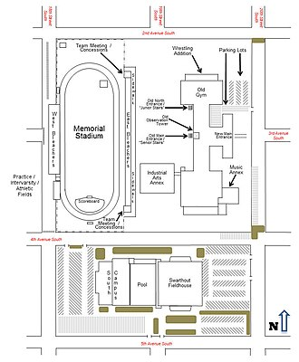 Great Falls High School - Campus map of Great Falls High School, as of 2011.