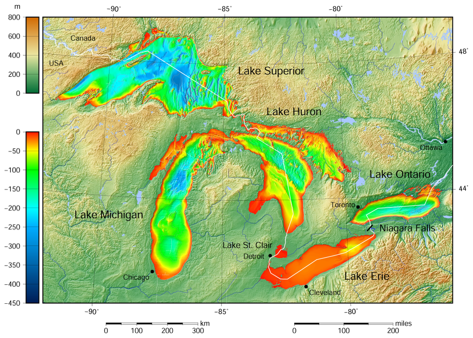 Great Lakes bathymetry map