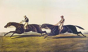 "Voltigeur (horse) - The Great Match by J F Herring: ""Volti"" is beaten by ""The Flyer"""