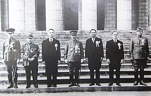 Axis powers - Japan's Prime Minister Hideki Tojo (center) with fellow government representatives of the Greater East Asia Co-Prosperity Sphere. To the left of Tojo, from left to right: Ba Maw from Burma, Zhang Jinghui, Wang Jingwei from China. To the right of Tojo, from left to right, Wan Waithayakon from Thailand, José P. Laurel from the Philippines, and Subhas Chandra Bose from India