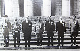 Pan-Asianism - Greater East Asia Conference in November 1943, Participants Left to right: Ba Maw, Zhang Jinghui, Wang Jingwei, Hideki Tōjō, Wan Waithayakon, José P. Laurel, Subhas Chandra Bose