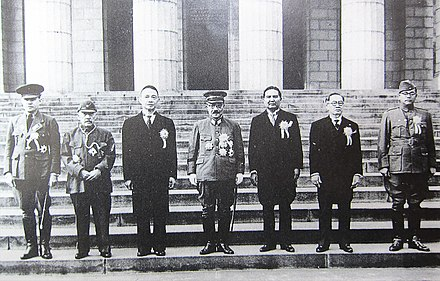 Greater East Asia Conference in November 1943, participants left to right: Ba Maw, Zhang Jinghui, Wang Jingwei, Hideki Tojo, Wan Waithayakon, Jose P. Laurel, Subhas Chandra Bose Greater East Asia Conference.JPG