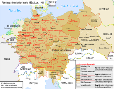 Map of the Greater German Reich with administrative divisions set by the Nazi Party, 1944 Greater German Reich NS Administration 1944 Variant.png