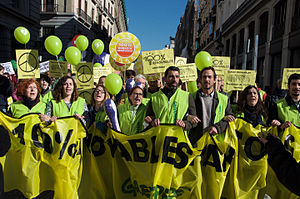 2015 United Nations Climate Change Conference - Greenpeace activists, demanding 100% renewable energy at Climate March 2015 in Madrid.