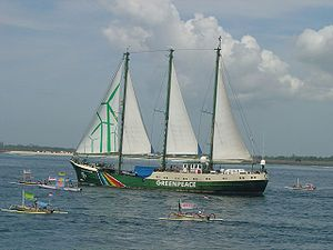 Greenpeace's Rainbow Warrior arrives in Bali f...