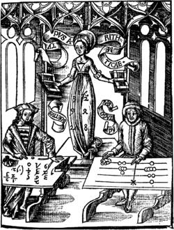 Calculating-Table by Gregor Reisch: Margarita Philosophica, 1508