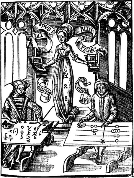 Calculating-Table by Gregor Reisch: Margarita Philosophica, 1508.