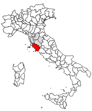 Locator map of the province of Grosseto, in Italy.