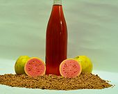 A bottle of guava seed oil surrounded by fruit