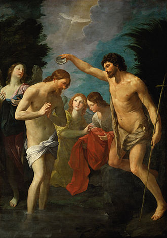 Baptism of Jesus - The baptism of Jesus depicted by Guido Reni, c. 1623