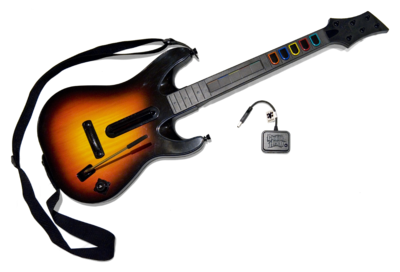 "The ""Genericaster"" guitar controller bundled with Guitar Hero World Tour (pictured is the PlayStation 3 guitar controller). Unlike previous Guitar Hero controllers, this controller is not based on a real guitar. Guitar Hero World Tour Guitar Controller PS3.png"