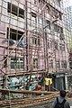 HK 上環 Sheung Wan 差館上街 Upper Station Street 荷李活大樓 Hollywood Building facade 竹棚架 鷹架 bamboo scaffolding decoration August 2017 IX1 01.jpg