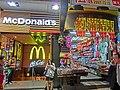 HK TST night 金馬倫道 2 Cameron Road sidewalk shop signs McDonalds n closing down shop Mar-2013.JPG