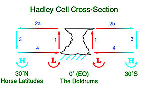 Low-pressure area - This depiction of the Hadley cell shows the process which sustains low-pressure areas.  Diverging winds aloft allow for lower pressure and convergence at the Earth's surface, which leads to upward motion.