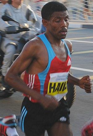 Dubai Marathon - Haile Gebrselassie on his way to winning the 2010 race