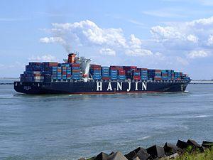 Hanjin Tianjin IMO 9312767 approaching Port of Rotterdam, Holland 08-Jul-2007.jpg