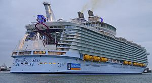 "MS Harmony of the Seas - The aft of Harmony of the Seas, with the Aqua Theater and ""Ultimate Abyss"" slides visible"