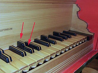 "Split sharp - The keyboard of a harpsichord by Bernhard von Tucher (Germany). The keyboard has ""divided black keys"" in order to tune the instrument in two different keys (in meantone temperament)."