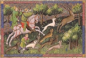 Rache - Raches (and a greyhound) pursuing the hart from Livre de la Chasse, a 15th-century MS of Gaston Phoebus