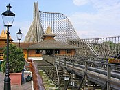 An overview of the station and lift hill of Colossos at Heide Park