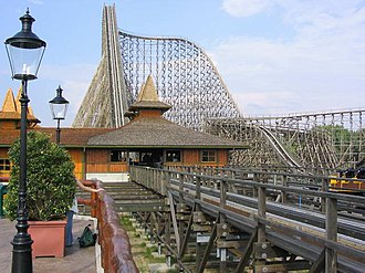 Wooden roller coaster - Colossos, one of the world's largest wooden roller coasters at Heide Park, Germany
