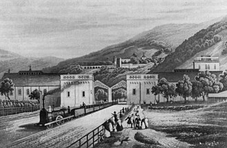 Main-Neckar Railway - A train leaving the old Heidelberg Station in 1840