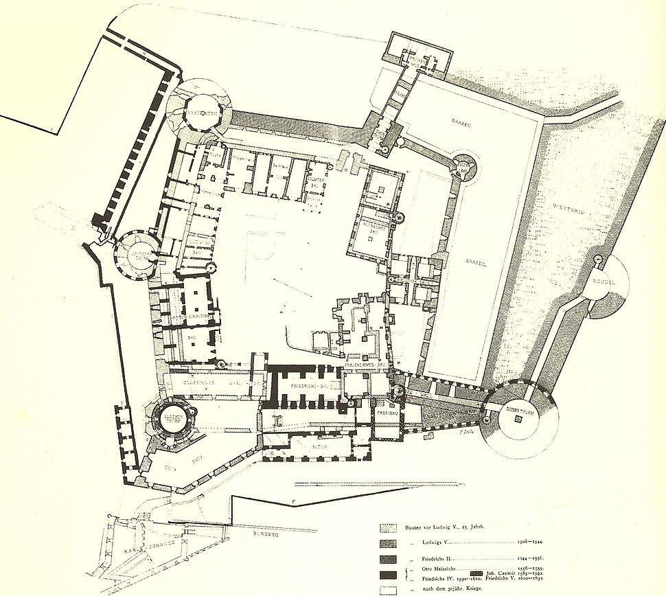 Heidelberger Schloss von Koch u Seitz 1891