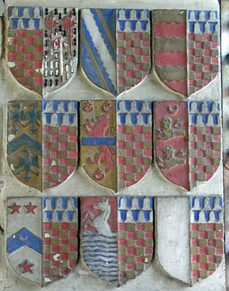 John Chichester (died 1569) - Heraldic panel on monument to Sir John Chichester (died 1569) in Pilton Church, showing his children and their marriage alliances