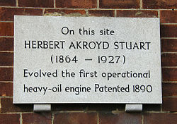 Photo of Herbert Akroyd Stuart white plaque