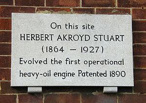 Herbert Akroyd Stuart - Plaque in Denmark Street, Bletchley, UK, commemorating the work of Herbert Akroyd Stuart