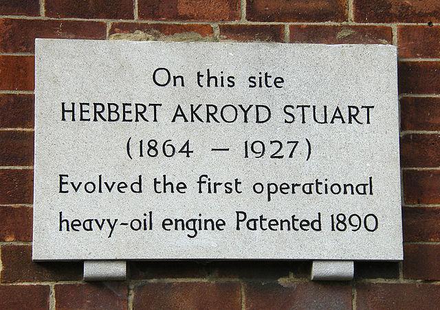 Photo of Herbert Akroyd Stuart white plaque