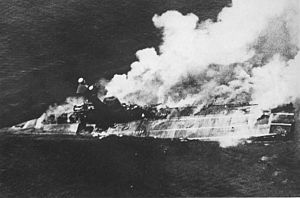 Indian Ocean raid - Hermes sinking after Japanese air attack on 9 April 1942.