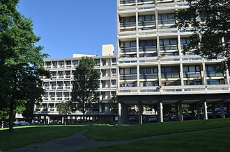 "Alton Estate - The Corbusier-inspired ""slab"" blocks of the Highcliffe neighbourhood in the Alton West estate, Roehampton, London, ""floating"" within the Georgian landscape."