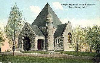 Highland Lawn Cemetery - The Highland Lawn Cemetery Chapel, circa 1914.