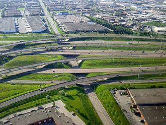 Ontario Highway 403 - The eastern terminus of Highway 403 in Mississauga, feeding into the collector and express lanes of Highway 401