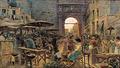 Holger H. Jerichau - Livlig gadehandel ved en italiensk byport, solnedgang.png